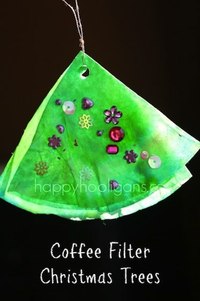Cofee filter Christmas tree craft