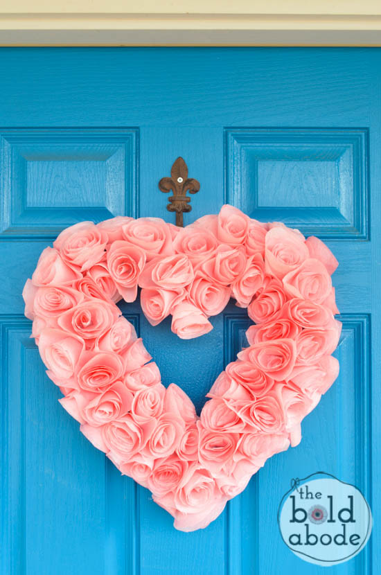Valentine's Day Decor: Coffee filter heart wreath