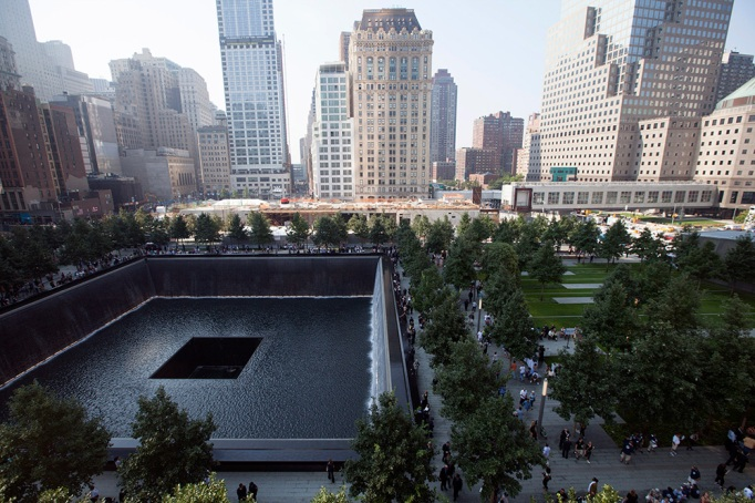 south reflecting pool at the 9/11