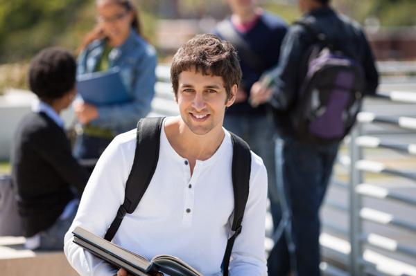 College boy on campus