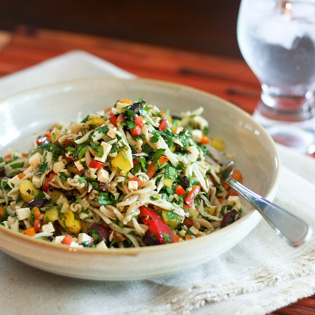 colorful bell pepper pasta salad