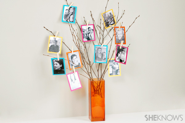 Colorful family picture tree
