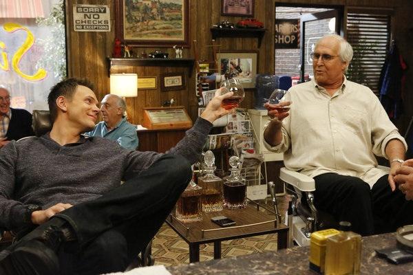 Jeff and Pierce bond over a glass of wine