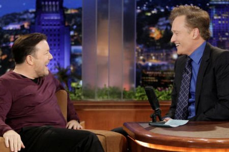 Conan O'Brien's Tonight Show visit with Ricky Gervais scored with viewers