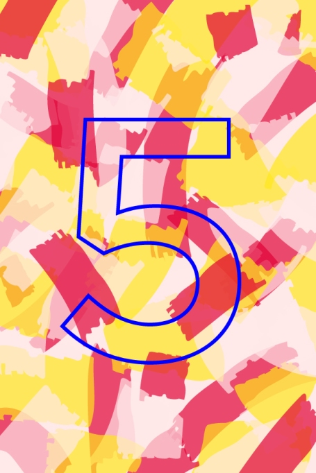 Outline of number 5 on pink and yellow background
