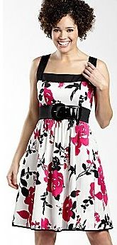 Contrast Trim Belted Sundress - White/Fuschia Floral