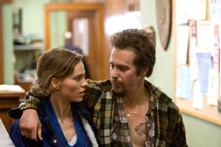 Hilary Swank and Sam Rockwell in Conviction
