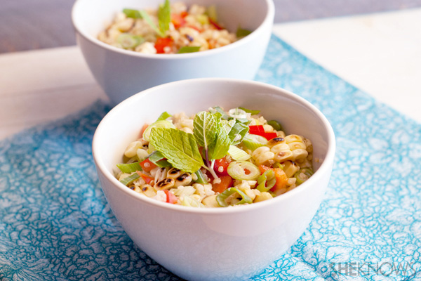 Grilled corn salad with quinoa and fresh mint