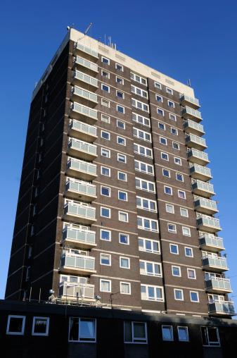 A utilitarian block of council flats