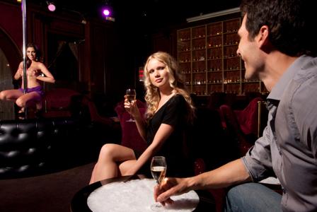 Couple at strip club