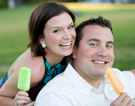 Couple having ice pops