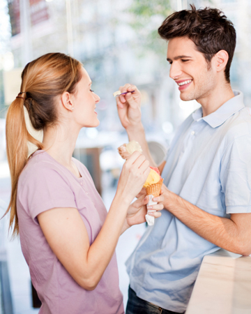 Couple having ice cream