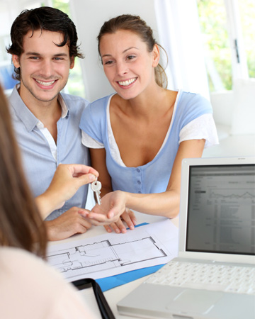 Couple in real estate office