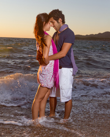 Couple making out on a beach