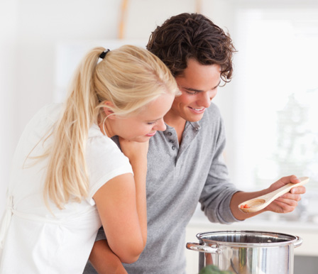 Couple making stew