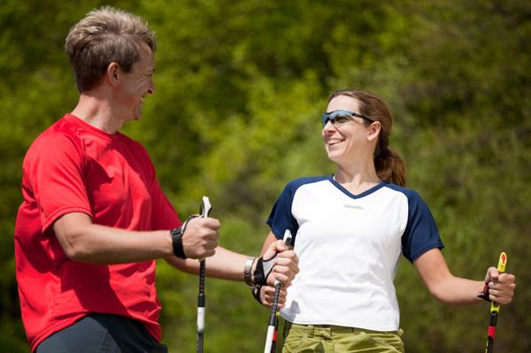 Couple Nordic Walking
