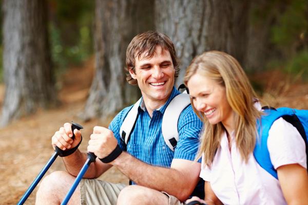 couple on a hike together