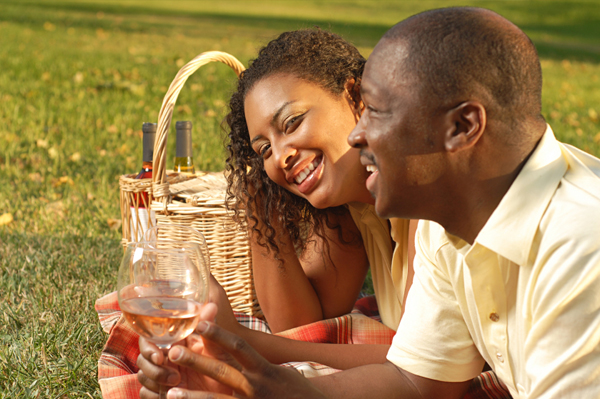 Couple on Wine & Cheese Picnic