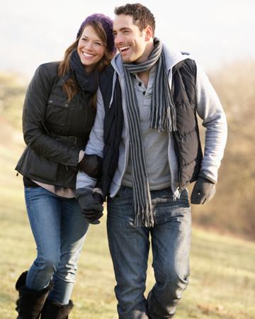 Couple on winter walk