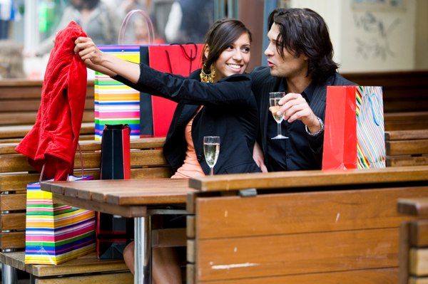 Couple shopping together.