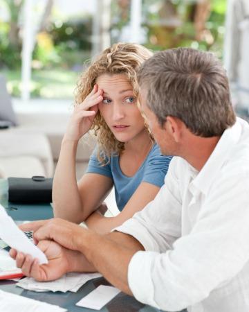 Couple talking about finances
