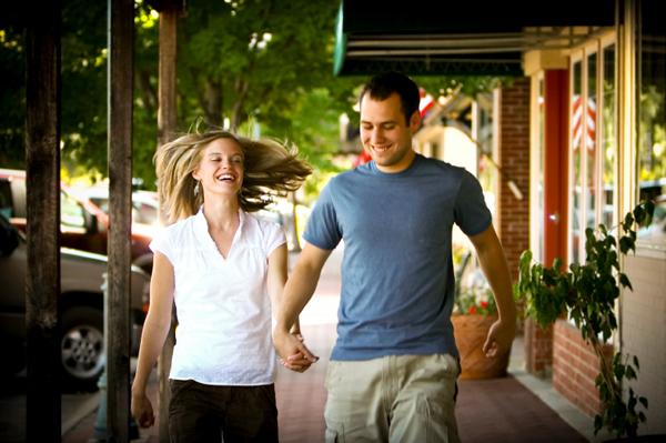 Couple walking and having fun.