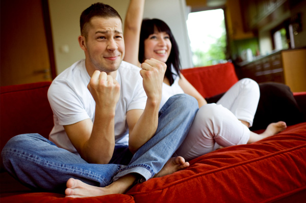 Couple Watching Sports on TV
