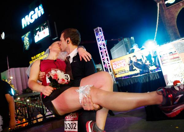A wedding at the Rock 'n' Roll Las Vegas Marathon