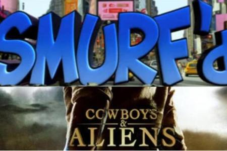 The Smurfs and Cowboys and Aliens tie