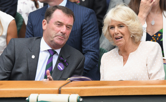 Philip Brook and Camilla, Duchess of Cornwall, attend day nine of the Wimbledon Tennis Championships at the All England Lawn Tennis and Croquet Club