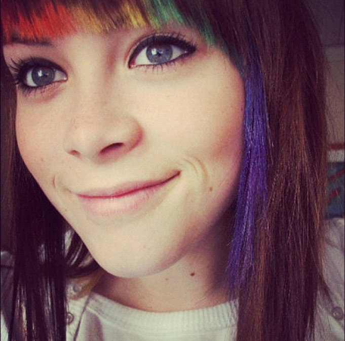 Bangs with rainbow tips