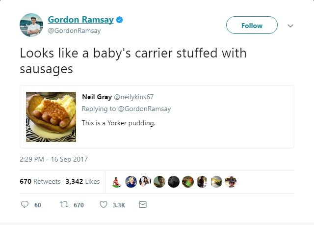 Gordon Ramsay's Meanest Tweets: Sausage in a baby stroller