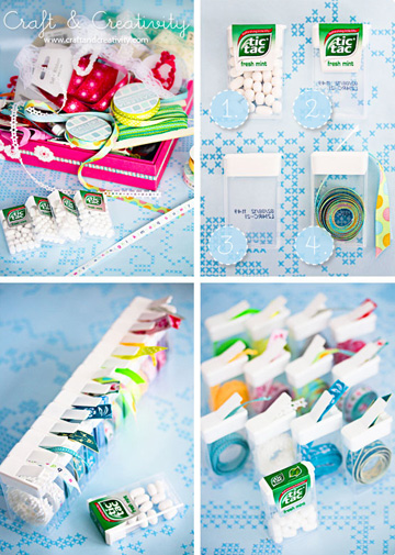 Old Tic Tac containers keep ribbon scraps contained and makes it easy to dispense.