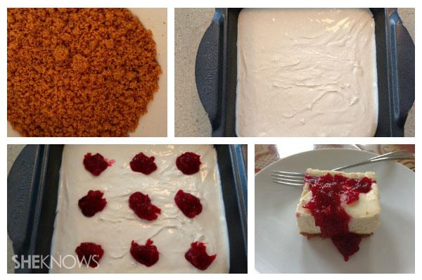 Cranberry swirl cheesecake bars assembling the bars | Sheknows.ca