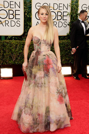 Kaley Cuoco at the Tolden Globes