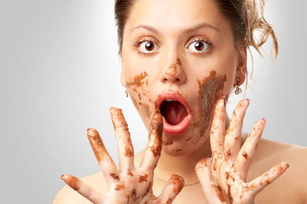Crazy woman eating chocolate