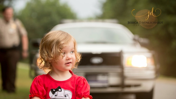 A little girl got pulled over