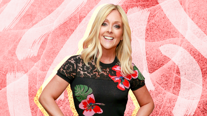 Jane Krakowski on a pink background.