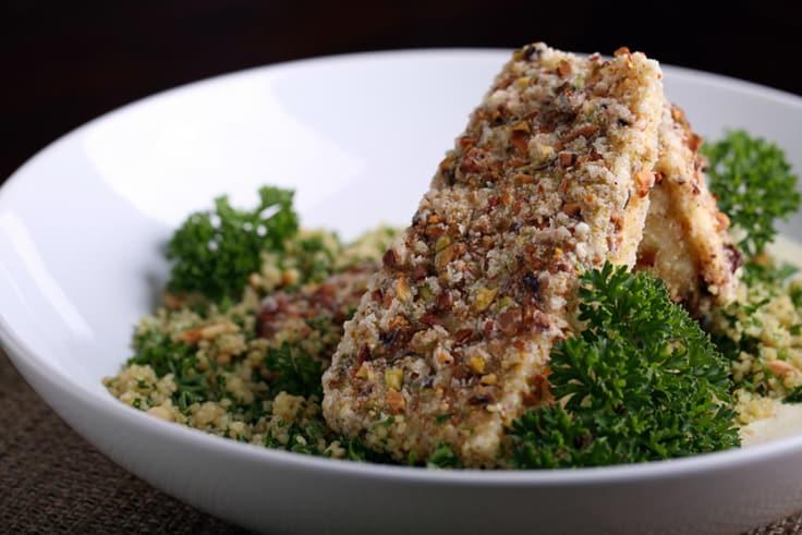 pistachio-crusted tofu