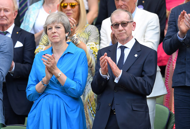 Prime Minister Theresa May and Philip May attend the men's single final on day 13 of the Wimbledon Tennis Championships