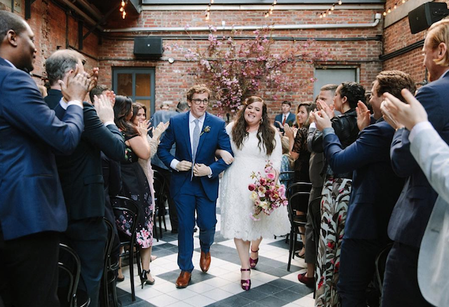 Aidy Bryant & Conner O'Malley on their wedding day in April 2018