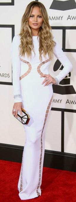 Chrissy Teigen white dress