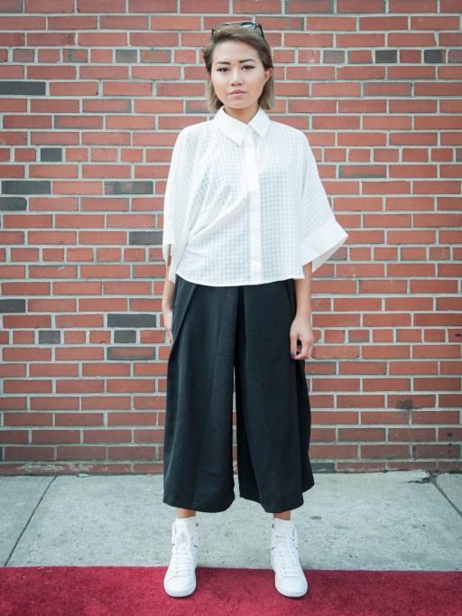 Fashion week street style classic white blouse