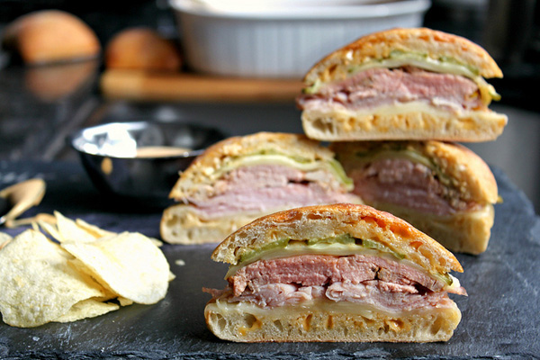 Cuban style sandwiches with chipotle, mayonnaise, mustard sauce