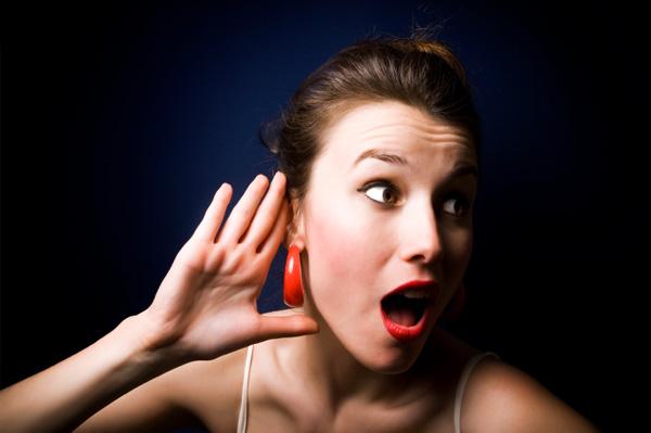 woman listening for gossip