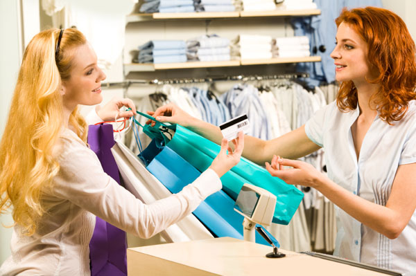 Costumer service in clothing shop