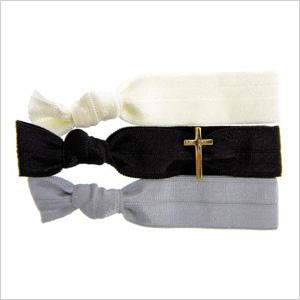 Gold Cross Bauble Hair Tie Set