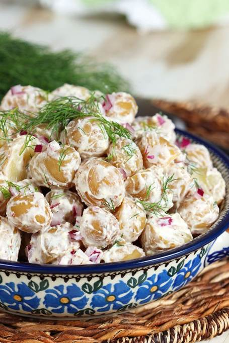 Classy Potluck Ideas: Potato salad tastes elegant with goat cheese in the mix