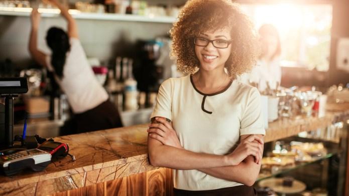Close up of a cafe waitress