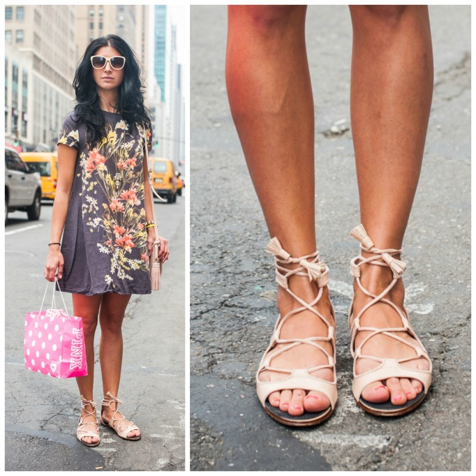 Nude lace-up sandals